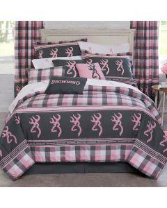 Browning Buckmark Plaid Queen Comforter Set-Pnk/Grn