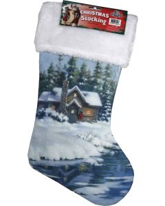 River's Edge Christmas Stocking-Cabin in the Woods