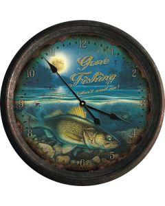 River's Edge Walleye Distressed Vintage Tin Wall Clock
