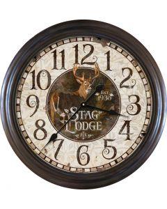 River's Edge Stag Lodge Metal Clock - Large
