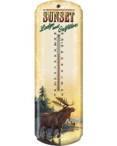 River's Edge Nostalgic Tin Thermometer-Sunset Lodge