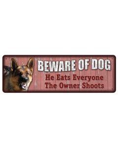 Rivers Edge Beware of Dog Tin Sign