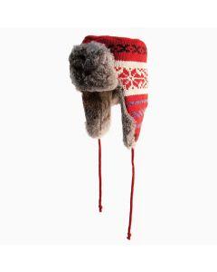 Yukon Tracks Fur Hat-RED KNIT-M