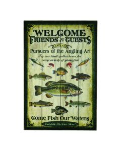 River's Edge Welcome Fishing Weathered Sign